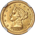 Liberty Quarter Eagles, 1843-C $2 1/2 Small Date, Crosslet 4 MS62 NGC. Variety 1....