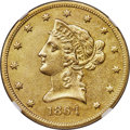 Liberty Eagles, 1864-S $10 -- Cleaned -- NGC Details. AU....