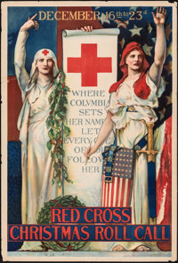 "Red Cross Christmas Roll Call (1918). Rolled, Fine+. Poster (18.75"" X 28"") E. H. Blashfield Artwork. Miscellan..."