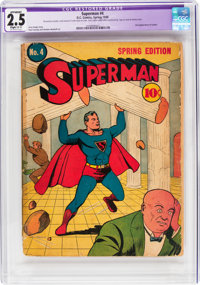 Superman #4 (DC, 1940) CGC Apparent GD+ 2.5 Slight (C-1) Off-white pages