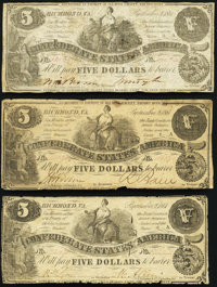 T36 $5 1861 Three Examples Fine or Better