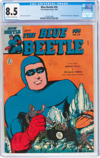 Blue Beetle #34 (Fox Features Syndicate, 1944) CGC VF+ 8.5 Off-white to white pages