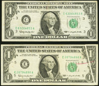 Gutter Fold Error Fr. 1900-C; E $1 1963 Federal Reserve Notes. Very Fine or Better. ... (Total: 2 notes)