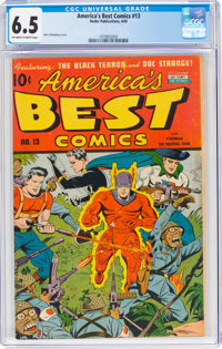 America's Best Comics #13 (Nedor Publications, 1945) CGC FN+ 6.5 Off-white to white pages