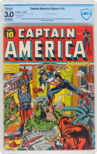 Captain America Comics #10 (Timely, 1942) CBCS Restored GD/VG 3.0 Slight (A) Off-white pages