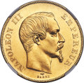 France: Napoleon III gold 50 Francs 1857-A MS64 NGC