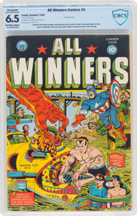 All Winners Comics #5 (Timely, 1942) CBCS FN+ 6.5 Slight to Moderate (A) Off-white to white pages