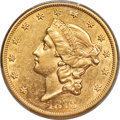 Liberty Double Eagles, 1873-CC $20 AU58 PCGS. Variety 1-A....