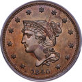 1840 1C Small Over Large 18 PR65 Brown PCGS. N-2, Low R.6 as a Proof....(PCGS# 1949)