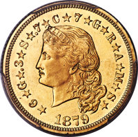 1879 $4 Flowing Hair, Judd-1635, Pollock-1833, JD-1, R.3 -- Tooled -- PCGS Genuine. Proof, Unc Details....(PCGS# 8057)