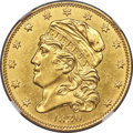 Early Half Eagles, 1830 $5 Small 5D, BD-2, High R.5, MS60 NGC....