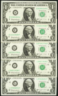 Complete District Set Fr. 1902-B; E; G; J; L $1 1963B Federal Reserve Notes Choice Crisp Uncirculated or Better. ... (To...
