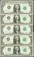 """Small Size:Federal Reserve Notes, Complete District Star Set ending in """"2"""" Fr. 1907-A*-H*; J*-L* $1 1969D Federal Reserve Star Notes Choice Crisp Uncirculated o... (Total: 11 notes)"""