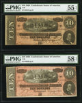 Confederate Notes:1864 Issues, T68 $10 1864 PF-44 Cr. 552 PMG Choice About Uncirculated 58 EPQ. T68 $10 1864 PF-38 Cr. 550 PMG About Uncirculated 55 EPQ.... (Total: 2 notes)