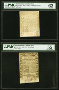 Connecticut June 1, 1780 2s 6d PMG Uncirculated 62; Rhode Island May 1786 40s PMG About Uncirculated 55. ... (Total: 2 n...