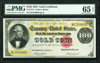 Fr. 1214 $100 1882 Gold Certificate PMG Gem Uncirculated 65 EPQ