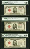 Small Size:Legal Tender Notes, Changeover Pair Fr. 1530 $5 1928E Non-Mule/Mule Legal Tender Notes. PMG Gem Uncirculated 65 EPQ;. Front Bookend Fr. 1530 $... (Total: 3 notes)