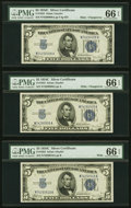 Changeover Pair Fr. 1653 $5 1934C Mule/Wide Non-Mule Silver Certificates PMG Gem Uncirculated 66 EPQ; Back Book