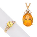 Estate Jewelry:Lots, Citrine, Yellow Sapphire, Diamond Platinum, Gold Ring. ... (Total: 2 Items)