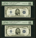 Small Size:Silver Certificates, Changeover Pair Fr. 1653*/1654* $5 1934C/1934D Wide I Silver Certificates. PMG Gem Uncirculated 66 EPQ.. ... (Total: 2 notes)