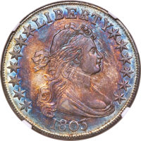 1803 50C Small 3, Large Reverse Stars, O-104, T-4, R.3, MS62 NGC....(PCGS# 39274)