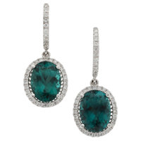 Tourmaline, Diamond, White Gold Earrings
