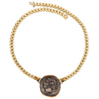 Diamond, Ancient Coin, Gold Necklace