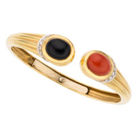 Diamond, Coral, Black Onyx, Gold Bracelet