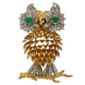 Estate Jewelry:Brooches - Pins, Diamond, Emerald, Gold Pendant-Brooch . ...