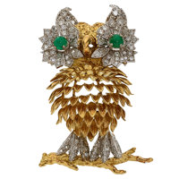 Diamond, Emerald, Gold Pendant-Brooch
