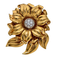 Diamond, Platinum, Gold Clip-Brooch