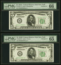 Changeover Pair Fr. 1957-B/1958-B $5 1934A/1934B Federal Reserve Notes. PMG Gem Uncirculated 66 EPQ; Gem Uncirculated 65...