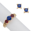 Estate Jewelry:Lots, Sapphire, Ruby, Gold Jewelry Lot. ... (Total: 2 Items)