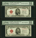 Non-Mule/Mule Changeover F-A Pair Fr. 1528/1528 $5 1928C/1928C Legal Tender Notes. PMG About Uncirculated 55 EPQ