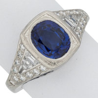 Sapphire, Diamond, Platinum Ring, James Breski