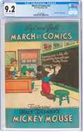 Golden Age (1938-1955):Funny Animal, March of Comics #74 Mickey Mouse (K. K. Publications, Inc., 1951) CGC NM- 9.2 Off-white to white pages....