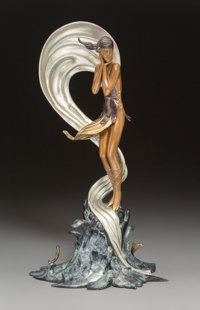 Erté (Romain de Tirtoff) (Russian/French, 1892-1990) Stranded, 1988 Cold painted and partial gilt bronze 20 x 10-...