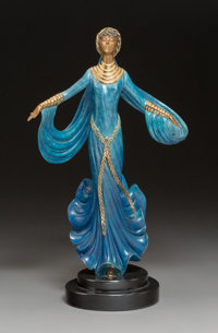 Erté (Romain de Tirtoff) (Russian/French, 1892-1990) Ecstasy, 1989 Cold painted and partial gilt bronze on stone...