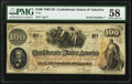 Confederate Notes:1862 Issues, Issued at Charleston, SC T41 $100 1862 PF-2 Cr. 311 PMG Choice About Unc 58.. ...