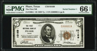 Pharr, TX - $5 1929 Ty. 1 The First National Bank Ch. # 10169 PMG Gem Uncirculated 66 EPQ