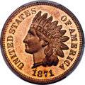 Proof Indian Cents, 1871 1C PR66 Red PCGS. CAC....