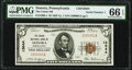 National Bank Notes:Pennsylvania, Donora, PA - $5 1929 Ty. 1 The Union National Bank Ch. # 13644 PMG Gem Uncirculated 66 EPQ.. ...