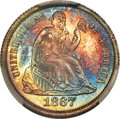 Proof Seated Dimes, 1867 10C PR67 Cameo PCGS. CAC. F-103, R.5....