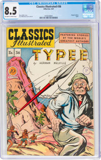 Classics Illustrated #36 Typee - First Edition (Gilberton, 1947) CGC VF+ 8.5 Off-white to white pages