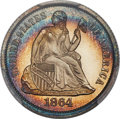 Proof Seated Dimes, 1864 10C PR66 Cameo PCGS. CAC. F-101, R.4....