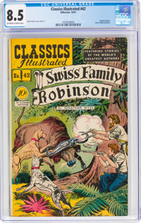 Classics Illustrated #42 Swiss Family Robinson - First Edition (Gilberton, 1947) CGC VF+ 8.5 Off-white to white pages...