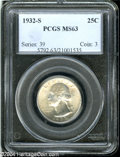 Washington Quarters: , 1932-S 25C MS63 PCGS....