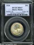 Washington Quarters: , 1934 25C Heavy Motto MS67 PCGS....