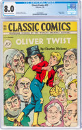 Golden Age (1938-1955):Classics Illustrated, Classic Comics #23 Oliver Twist - First Edition (Gilberton, 1945) CGC VF 8.0 Cream to off-white pages....