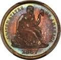 Proof Seated Dimes, 1867 10C Repunched Date, F-103, R.5, PR67 PCGS....